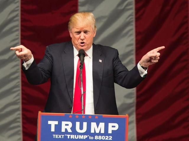 Republican presidential candidate Donald Trump speaks during a campaign rally at the Orange County Fair and Event Center.