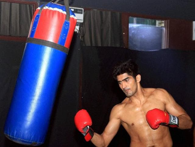 Vijender Singh practices before his next professional boxing bout Matiouze Royer at Manchester Arena, UK on Thursday.