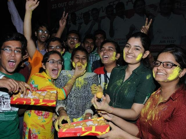Students celebrating success in JEE (Main) exam after results in Patna on Wednesday.