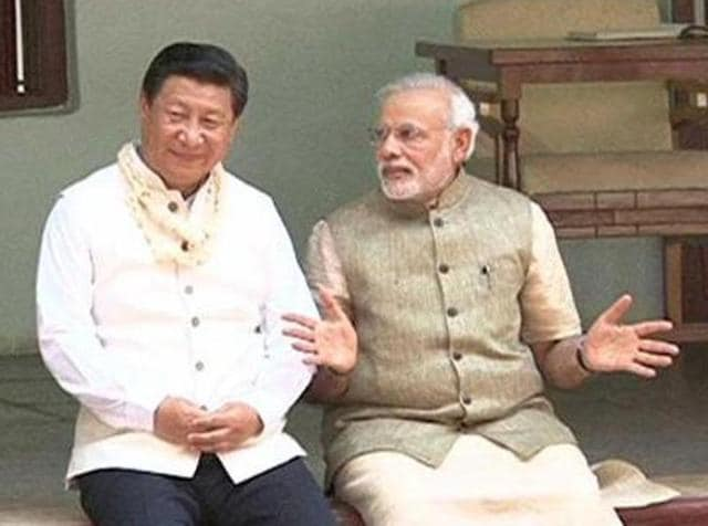Prime Minister Narendra Modi with the China's President Xi Jinping during his visit to India.