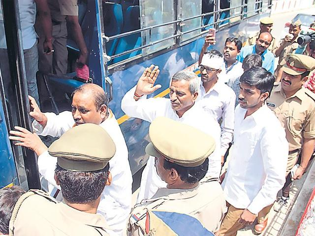 Sacked SP MLA Ram Pal Yadav being taken to jail from court in Lucknow on Friday.