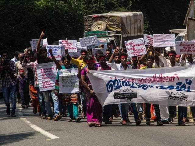 Protesters take out a march the Protection of Children from Sexual Offences Act in Kerala's Wayanad.