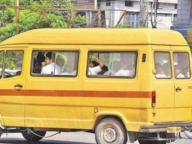overloaded school buses,ludhiana,Green Land School
