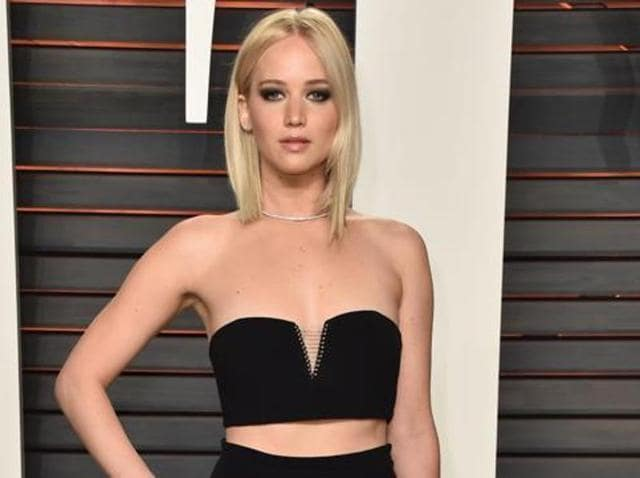 Actor Jennifer Lawrence at the 2016 Vanity Fair Oscar Party in Beverly Hills, California on February 28, 2016.