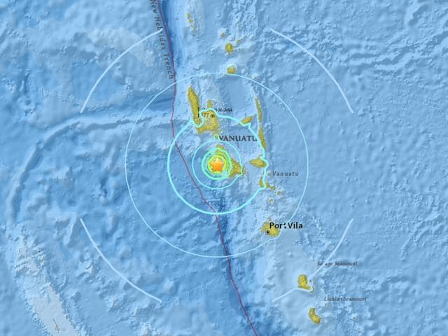 The quake struck some 85km south of the port city Luganville, known locally as Santo.