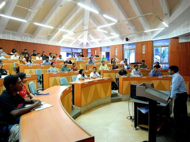 A class in progress in IIM Calcutta. The IIMs, the country's top management colleges, appear opposed to caste quota in selecting faculty.