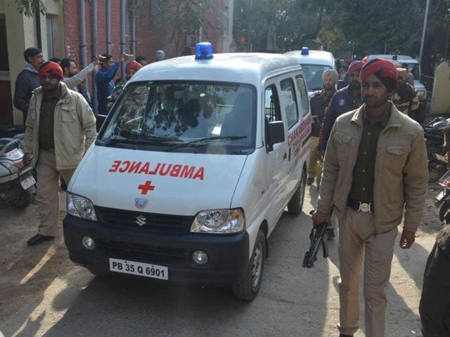 Ambulance carrying terrorist dead bodies at Pathankot civil hospital for postmortem.