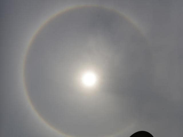 The Saturday afternoon Sun around which a halo appeared from Kolkata.