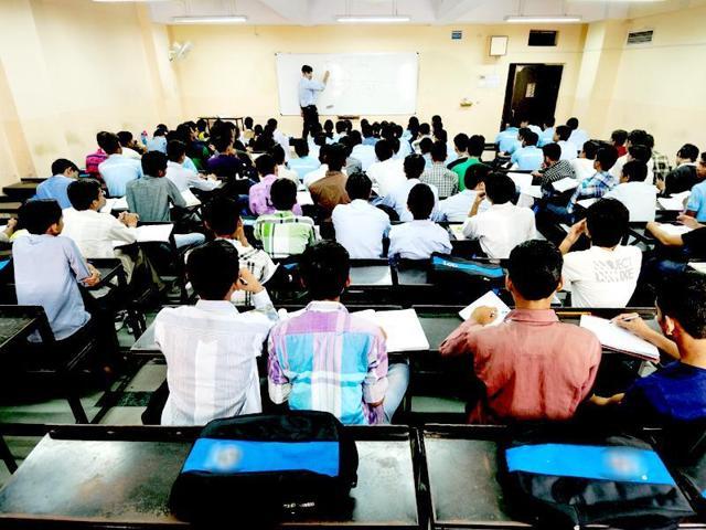 Students in a coaching class in Kota.