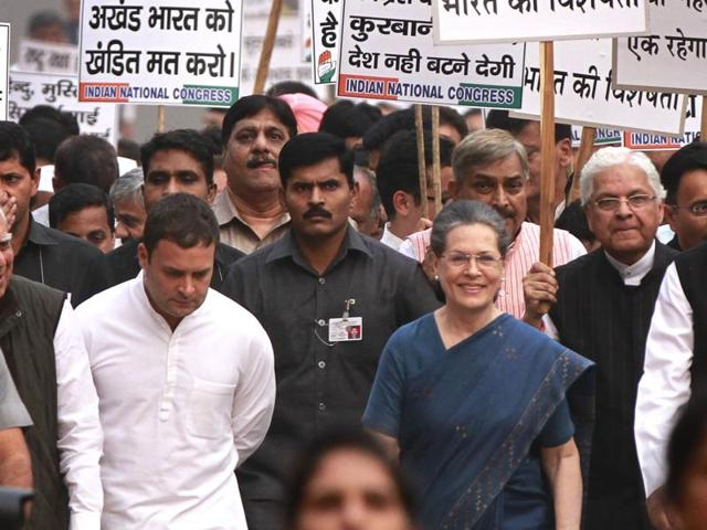File photo of a protest march by Congress in November, 2015,  against 'rising intolerance' in the country.