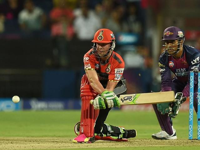 AB de Villiers (L) plays a shot during the match between Gujarat Lions and Royal Challengers Bangalore at Rajkot.