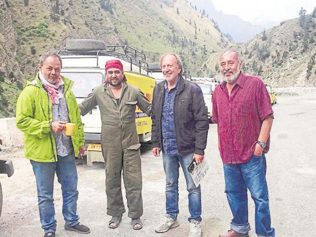 From left to right: Actors Raj Zutshi and Kunal Malla, director Goran Paskaljevic and actor Victor Banerjee during the shoot of Devbhoomi in Uttarakhand.