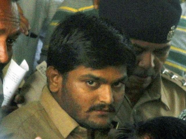 Hardik Patel, convener of Patidar Anamat Aandolan Samiti being taken to a court in Ahmedabad.