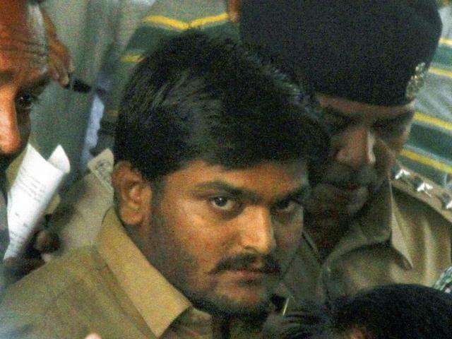 Hardik Patel, convener of Patidar Anamat Aandolan Samiti being taken to a court in Ahmedabad.
