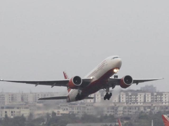 In this file photo, an Air India plane takes off at Mumbai Airport.