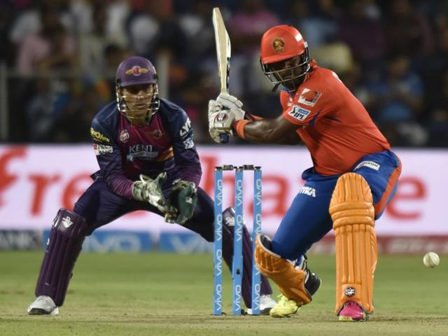Dwayne Smith of Gujarat Lions in action against Rising Pune Supergiants during an IPL game in Pune.