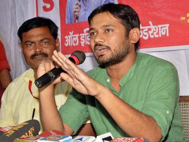 Jawaharlal Nehru University Students' Union (JNUSU) president Kanhaiya Kumar addressing a press conference in Patna on Saturday.