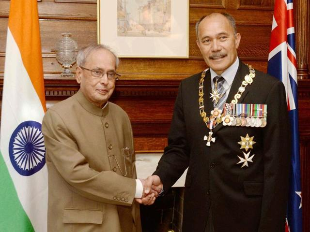 President Pranab Mukherjee shakes hands with Sir Jerry Mateparae, the Governor General of New Zealand at a meeting at in Auckland on Saturday.