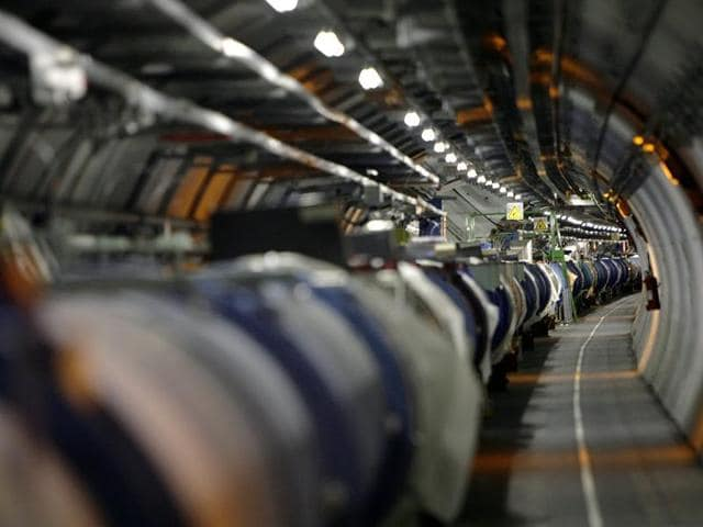 A May 31, 2007 file photo shows a view of the Large Hadron Collider in its tunnel at the European Particle Physics Laboratory, CERN, near Geneva.