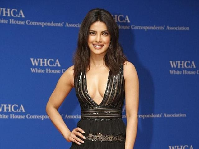 Quantico star Priyanka Chopra wore black with illusion cutouts from Zuhair Murad.