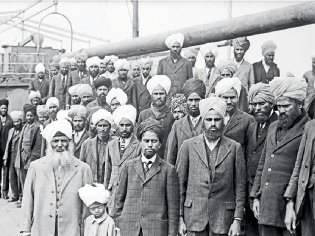 Sikhs who travelled in the Japanese steamship Komagata Maru in 1914.
