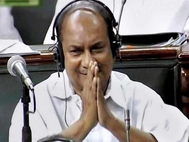 Former defence minister AK Antony arrives at the Parliament House.