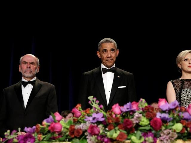 US President Barack Obama attends the White House Correspondents Association's annual dinner in Washington.