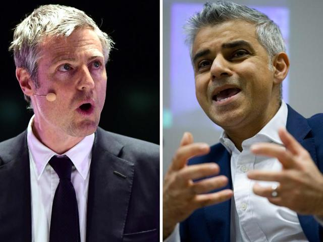 A combination picture of Zac Goldsmith (L) and Sadiq Khan (R) speaking, in London.
