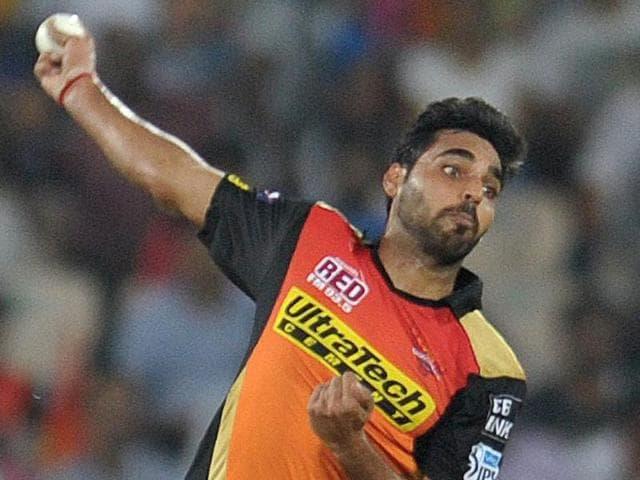 Sunrisers Hyderabad Bhuvneshwar Kumar celebrates the wicket of Gujarat Lions batsman Aaron Finch.