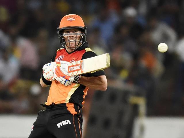 Sunrisers Hyderabad's David Warner bats during the IPL  match against Royal Challengers Bangalore, played at Rajiv Gandhi International Cricket Stadium, in Hyderabad.