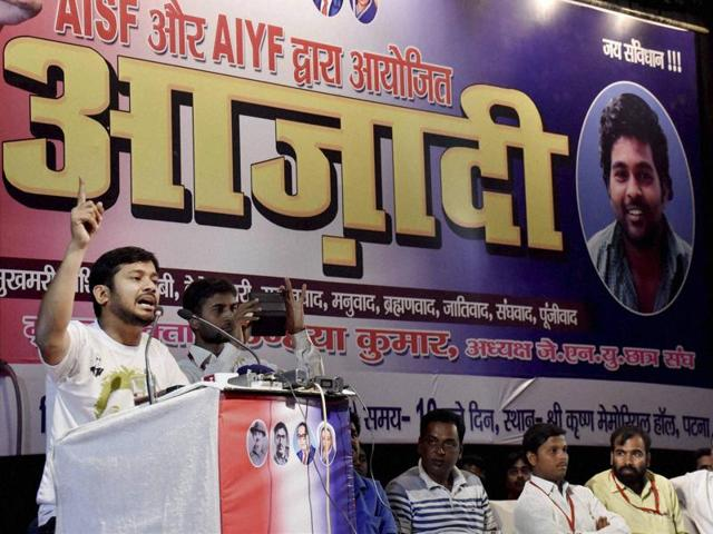 JNUSU president Kanhaiya Kumar addresses a meeting in Patna on Sunday.
