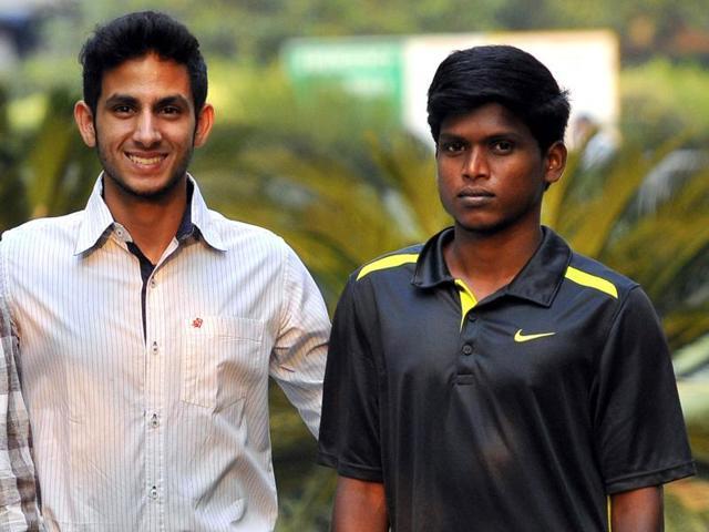 (From left ) Coach Satyanarayana, Awareness and Impact Ambassador of the Paralympic Committee of India Arhan Bagati and high jumper Mariyappan T.