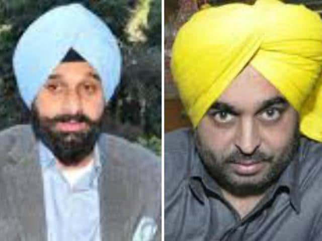 Shiromani Akali Dal (SAD) minister Bikram Singh Majithia (left) and Aam Aadmi Party (AAP) MP Bhagwant Mann (right)