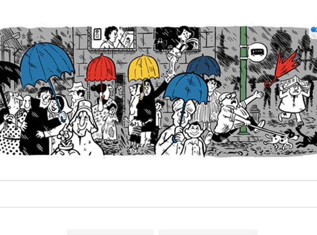 The people on the doodle are depicted struggling with their umbrellas, newspapers, women shown heavy bosomed and large-hipped, a spontaneous lovers hug, the typical dog chasing a stray cat and dragging his master on the leash.