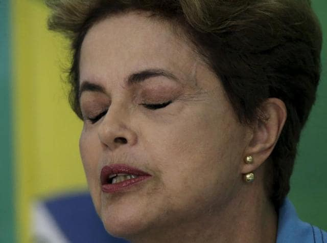 Brazil's President Dilma Rousseff reacts during a news conference at Planalto Palace in Brasilia.