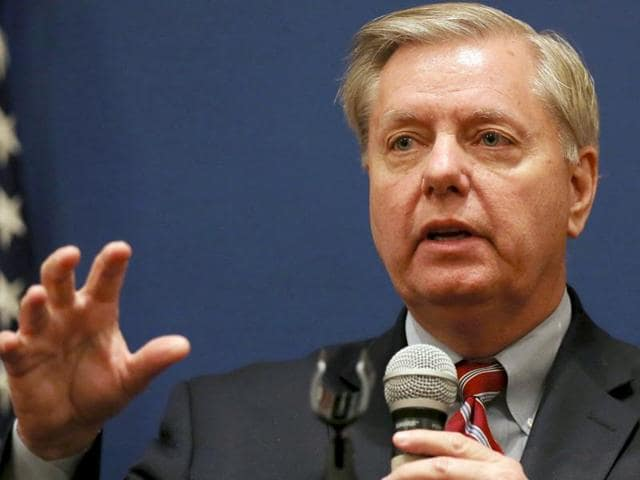 US senator Lindsey Graham speaks during a news conference in Cairo, Egypt.