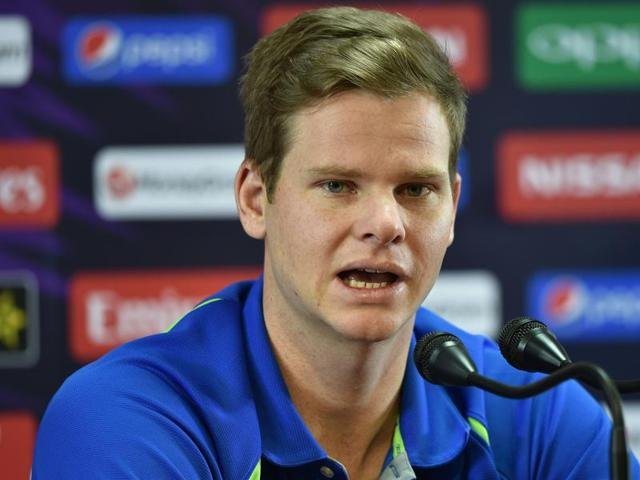 Australian cricket captain Steve Smith addresses a press conference at The Chinnaswamy Stadium in Bangalore.