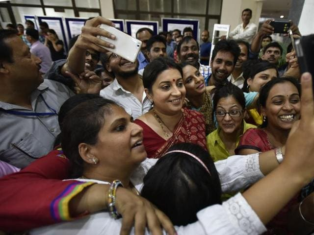 Minister of human resource development Smriti Irani during the launch of Indian Institute of Technology Delhi engineering block, in New Delhi on April 29, 2016.