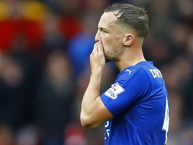 Leicester City's Danny Drinkwater leaves the pitch after being sent off.