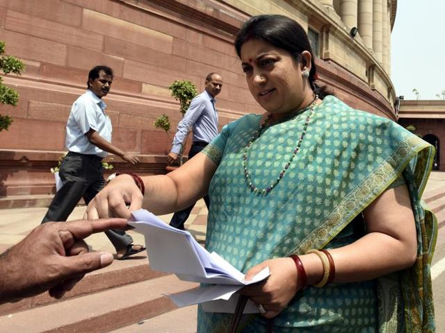 Minister of human resource development Smriti Irani arrives for the Parliament Session in New Delhi on Wednesday, April 27, 2016.