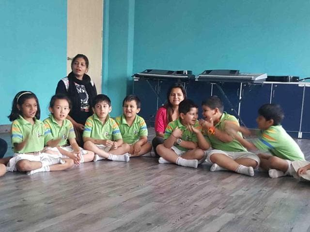 Students during an interactive session at a school in Gurgaon.