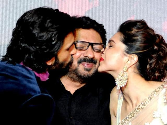 Sanjay Leela Bhansali with Ranveer Singh and Deepika Padukone. (HT Photo)