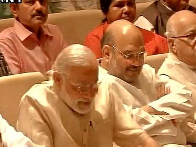 Visuals of BJP Parliamentary party meeting which was held in Parliament today