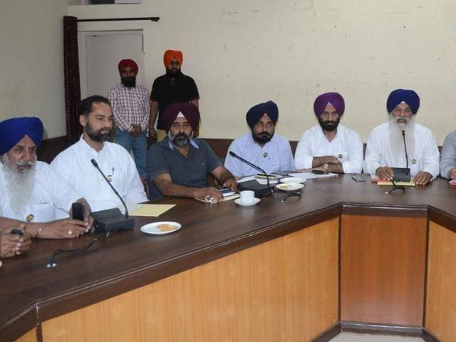 Shiromani Akali Dal MLA Pargat Singh with other party leaders at a meeting in Jalandhar on Monday.