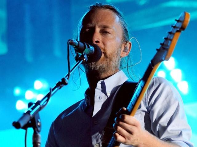 This file photo taken on July 10, 2012 shows British musician and singer-songwriter Thom Yorke of the rock band Radiohead performing during a concert at the Bullring in Nimes.