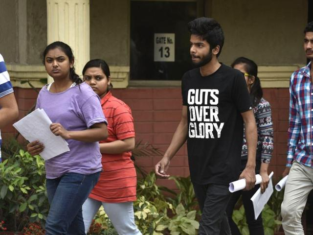 Students come out from the examination centre of JEE (Main) in Delhi on April 3, 2016.