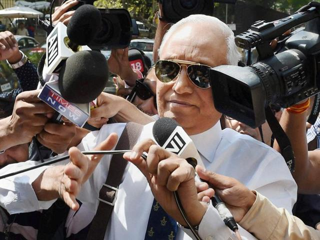 Former Air Chief Marshal SP Tyagi at the CBI headquarters in New Delhi on May 2.