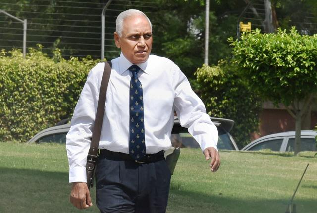 Former Air Chief Marshal SP Tyagi arriving at the CBI headquarters in New Delhi on Monday,in connection with alleged corruption in the 3,600 crore AgustaWestland choppers deal.