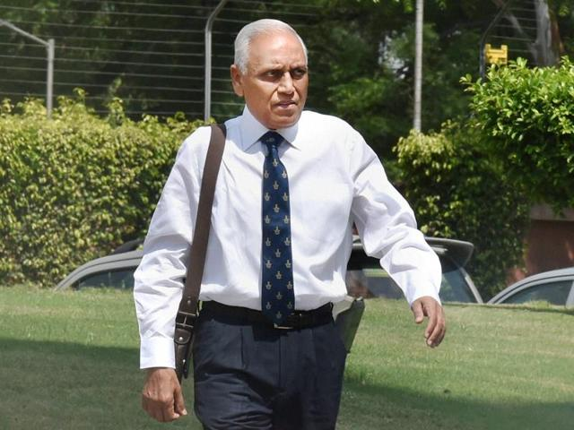 Former Air Chief Marshal S P Tyagi arriving at the CBI headquarters in New Delhi on Monday.