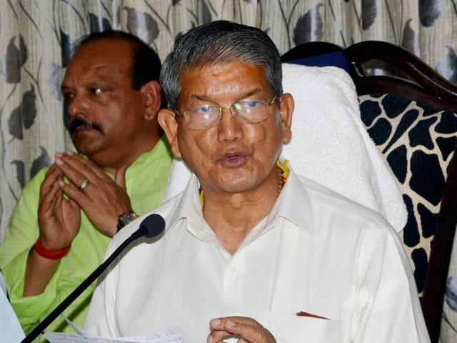 Former Uttarakhand chief minister Harish Rawat addressing a press conference in Dehradun.